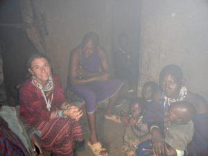 Inside Seki's hut in the evening
